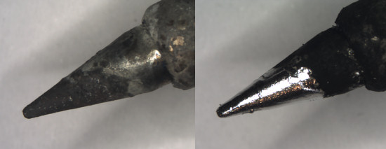 An oxidized tip, before and after dipping in the tip activator