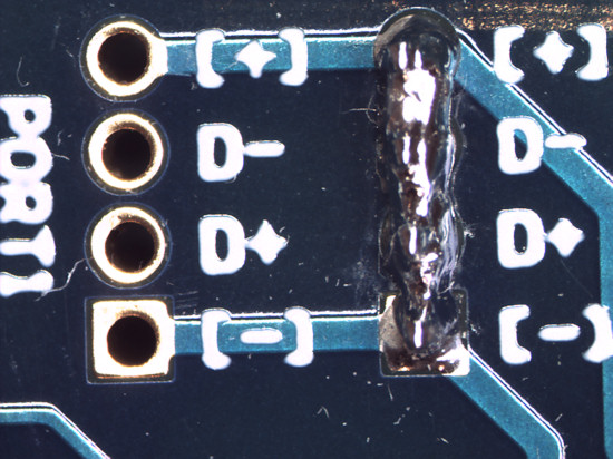 A badly failed soldering