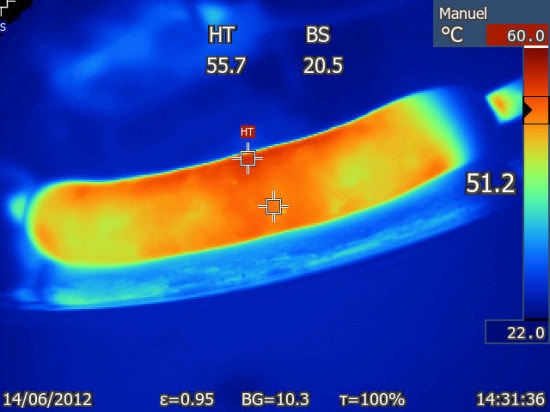 Infrared picture of a sausage with current going through