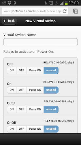 Logical switch configuration page