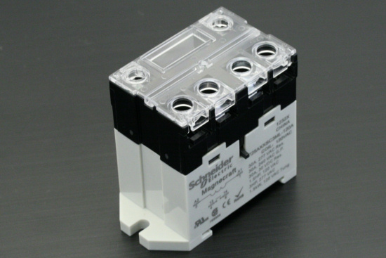 A Magnecraft 30A relay from Schneider Electric, powered directly from the mains