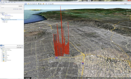 Air quality is measured with a Yocto-VOC, and then represented in 3D on a map