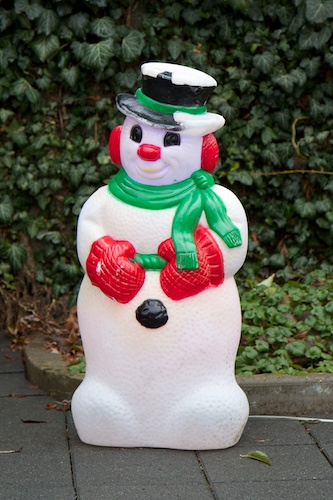 The snowman, after reassembly