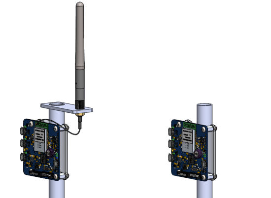 The YoctoHub-Wireless have been mounted on a PVC pole