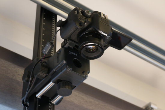 We mounted a camera on the copy stand