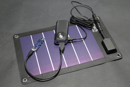 A USB battery pack recharged by a solar panel