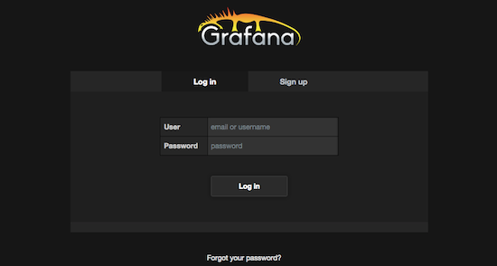 Grafana login window