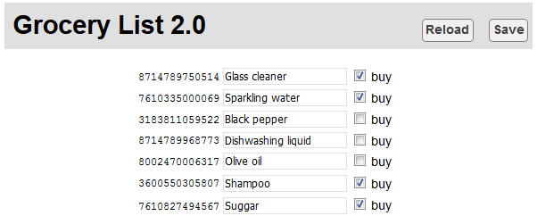 A small and very simple interface to update the grocery list