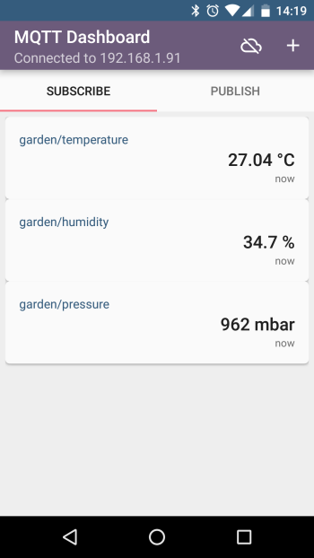And here is the temperature directly on your phone...
