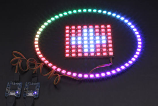 The Yocto-Color-V2 is compatible with the NeoPixel modules based on the WS2812B, WS2812C, and SK6812 leds