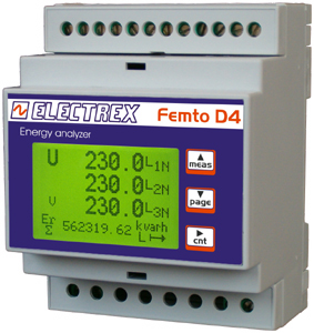 The Femto D4 counter takes the same volume as 4 circuit breakers