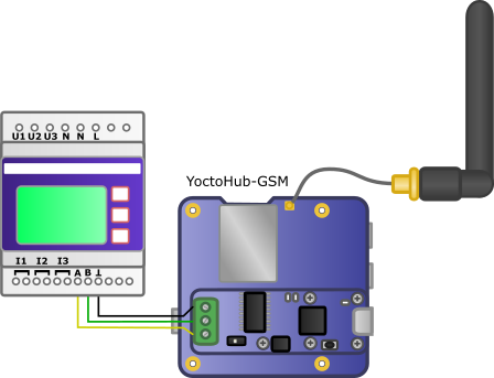 Connection using a Yocto-RS485 mounted on a YoctoHub-GSM-3G-EU