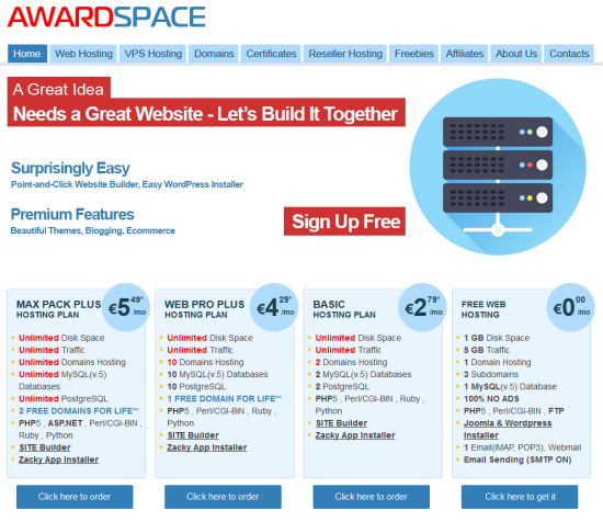 The AWARDSPACE welcome page, click on the lower right side