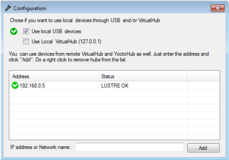USB and network configuration