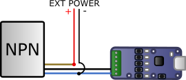 Connecting an NPN output on a Yocto-Knob
