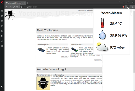 By clicking on the icon, we display the state of the Yocto-Meteo