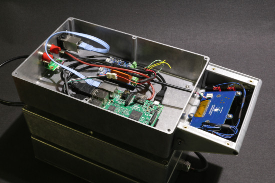 The electronics in the enclosure