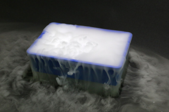 Dry ice + lukewarm water = instant fog