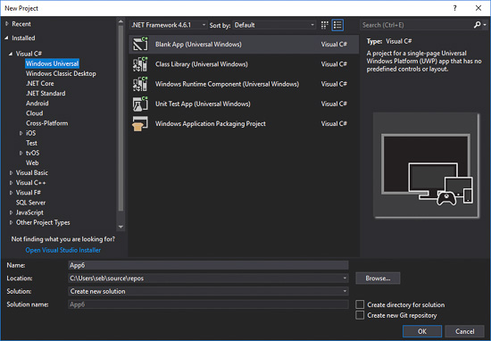 Create a new C# project of type Blank App (Universal Windows)