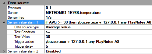 Triggering a beep every 5 seconds when the temperature is above 30°C