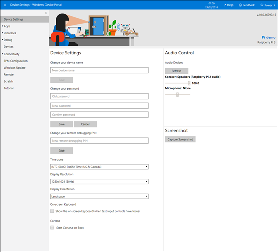 The Windows Device Portal allows you to configure the system remotely