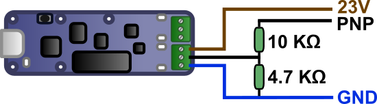 Diagram to connect the PNP sensor to a  Yocto-0-10V-Rx