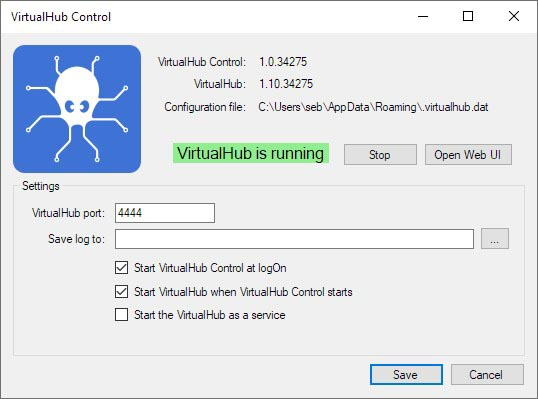 The VirtualHub configuration window