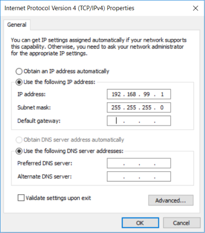 Configuring the static IP address 192.168.99.1 under Windows