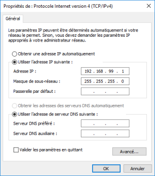 Configuration d'une adresse IP statique  192.168.99.1 sous Windows