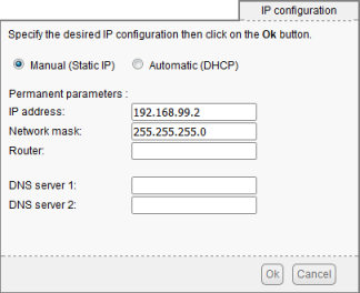 Configuring the static IP addess  192.168.99.2 on a YoctoHub. For a non routable network, leave the router field empty
