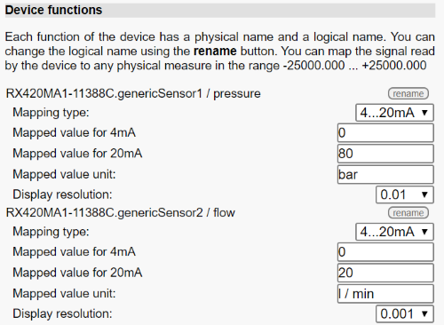 GenericSensor configuration interface