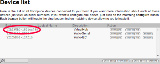 The VirtualHub serial number, generated from the host network name.