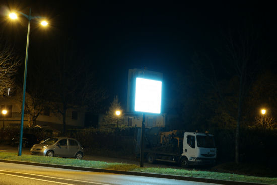 A too bright digital billboard