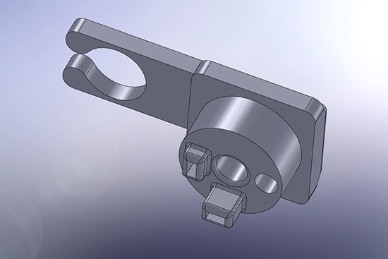 3D modeling of the piece to hold the solenoid valve and detection pins