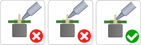 The position of the soldering tip is essential: both contacts to be soldered must be heated simultaneously
