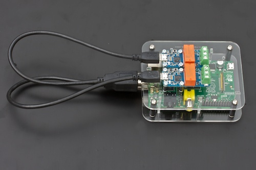The Raspberry Pi, with two modules