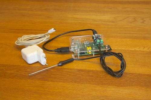 The Raspberry Pi in a RaspBox, with a Yocto-Thermocouple on the top