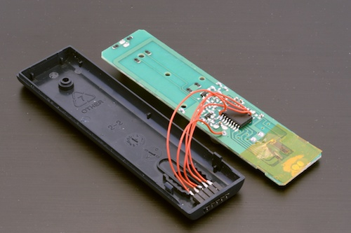 The open remote control, with our remote control connector, which won't be noticed.