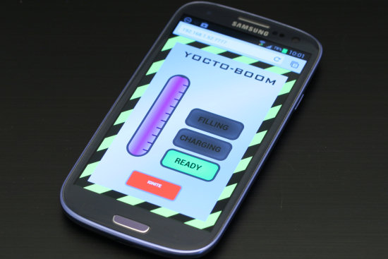 The experiment is controled from a smart phone