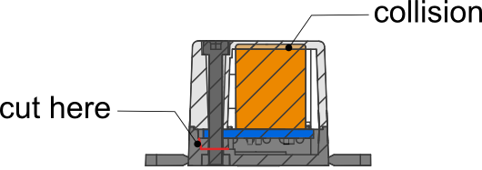 Section view of a module in an enclosure