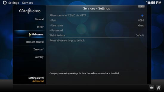 To use the JSON-RPC API, you must enable the  'Allow control of XBMC via HTTP' option