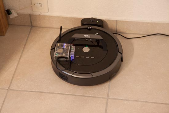 The Yocto-Wireless-G and Yocto-Serial connected to the Roomba