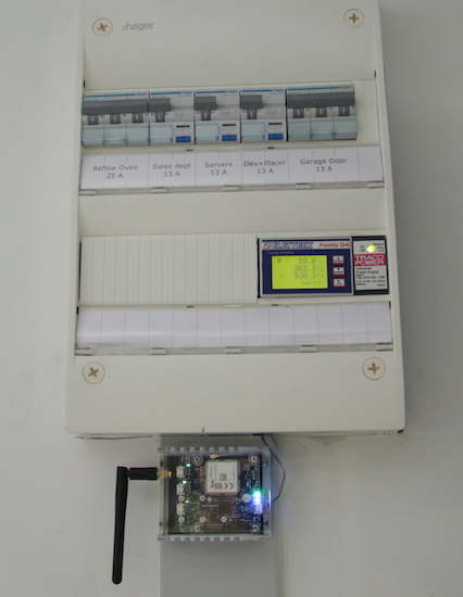 A distribution panel with an energy counter connected by GSM