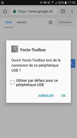 You can register the Yocto-Toolbox as default application for USB modules