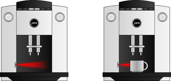 The Yocto-Proxmitiy is used to detect the presence of a cup under the nozzles of the coffee machine