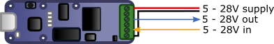 Typical connection diagram of the Yocto-IO