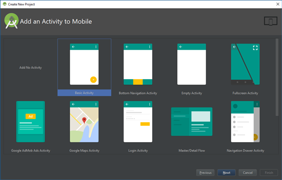We start with the basic Android Studio activity