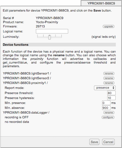 The new configuration parameters of the Yocto-Proximity