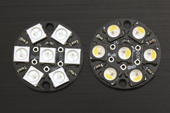 Left: RGB leds, right: RGBW leds, note the half-moon shaped white led part