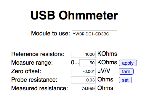 Complete interface for our precision USB Ohmmeter